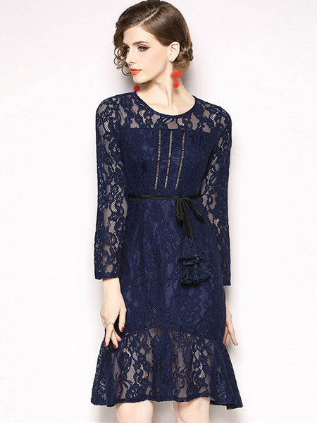 Lace O-Neck Long Sleeve Lacing Mermaid Fit & Flare Dress