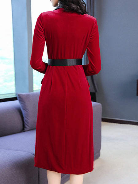Elegant Lapel Collar Long Sleeve Double-Breasted Slit Bodycon Dress