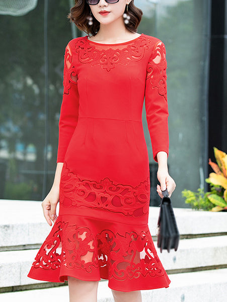 Pure Color Lace O-Neck 3/4 Sleeve Mermaid Dress