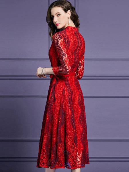 Vintage O-Neck Long Sleeve Pure Color A-Line Dress