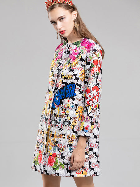 Vintage O-Neck Long Sleeve Floral Shift Dress