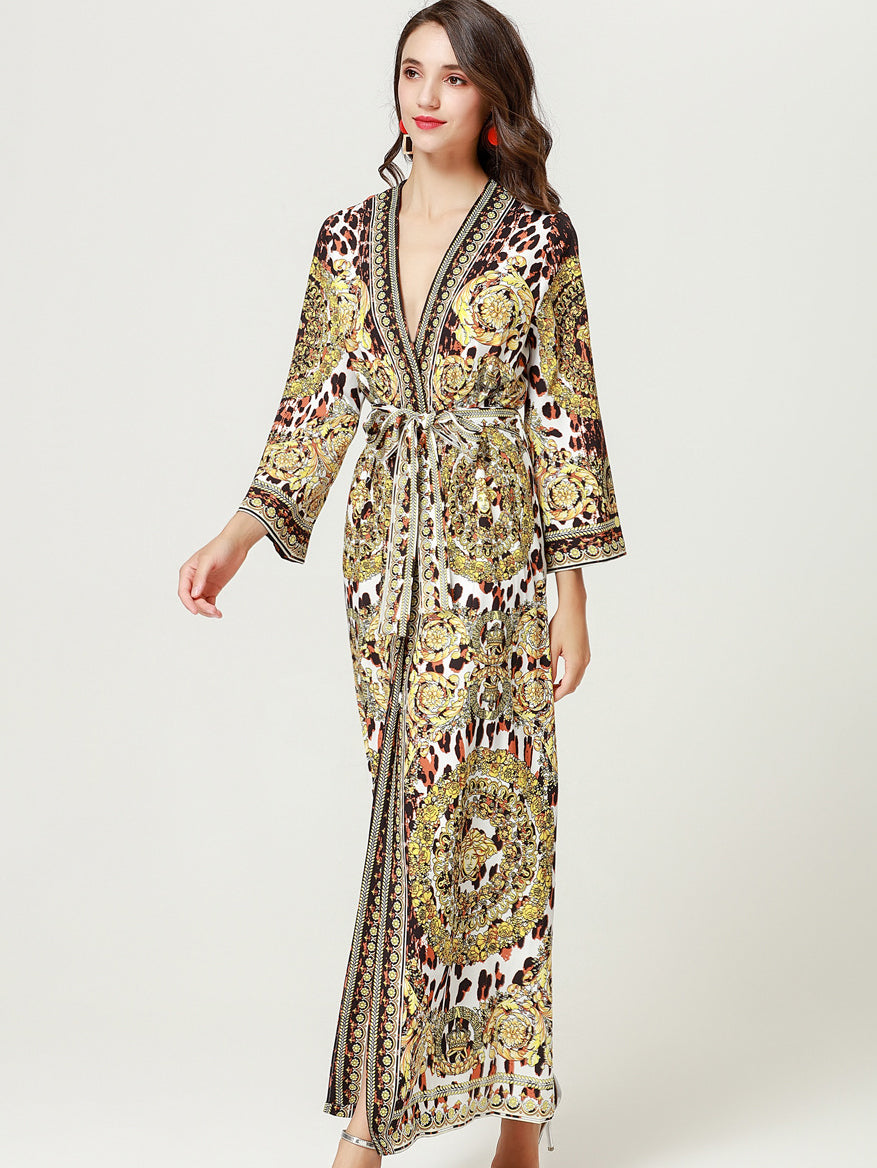Vintage Deep V-Neck Flare Sleeve Lacing Slit Print Maxi Dress