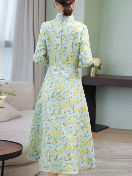 Cheongsam Stand Collar Long Sleeve Floral Dress