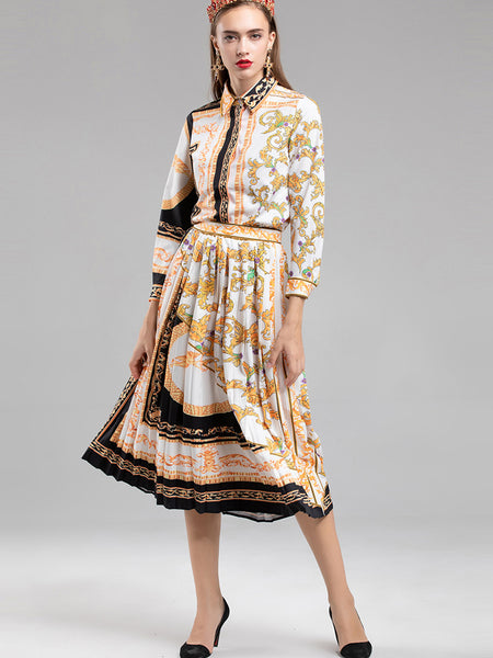 Vintage Turn-Down Collar Long Sleeve Print Pleated Skater Dress