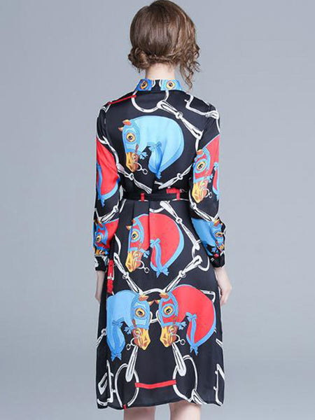 Vintage Turn-Down Collar Long Sleeve Print Skater Dress