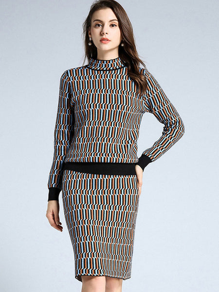 Stand Collar Long Sleeve Two Piece Bodycon Dress