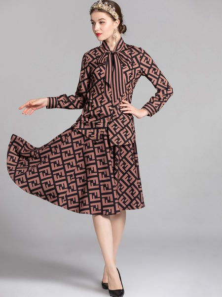Print Bowknot Lacing Long Sleeve Two Piece Skater Dress