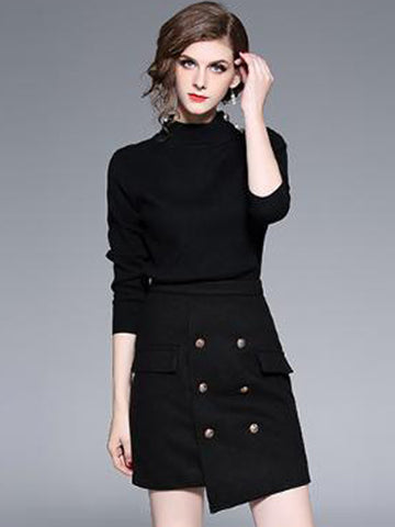 Black Irregular Stand Collar Two Piece Bodycon Dress