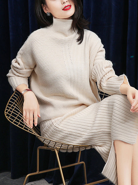 Simple Stand Collar Long Sleeve Slit Pure Color Sweater Dress