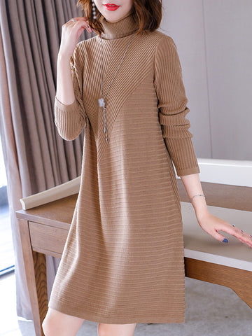 Pure Color High Collar Long Sleeve Sweater Dress