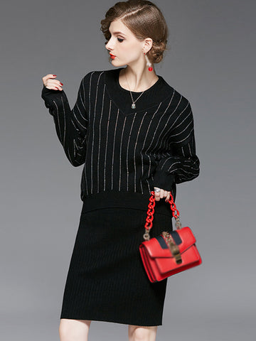 Two Piece O-Neck Long Sleeve Sweater Dress