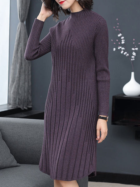 Pure Color Stand Collar Long Sleeve Sweater Dress