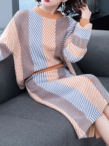 Multicolor Stripe O-Neck Two Piece Sweater Dress