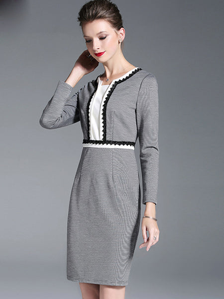 Stitching O-Neck Long Sleeve Bodycon Dress