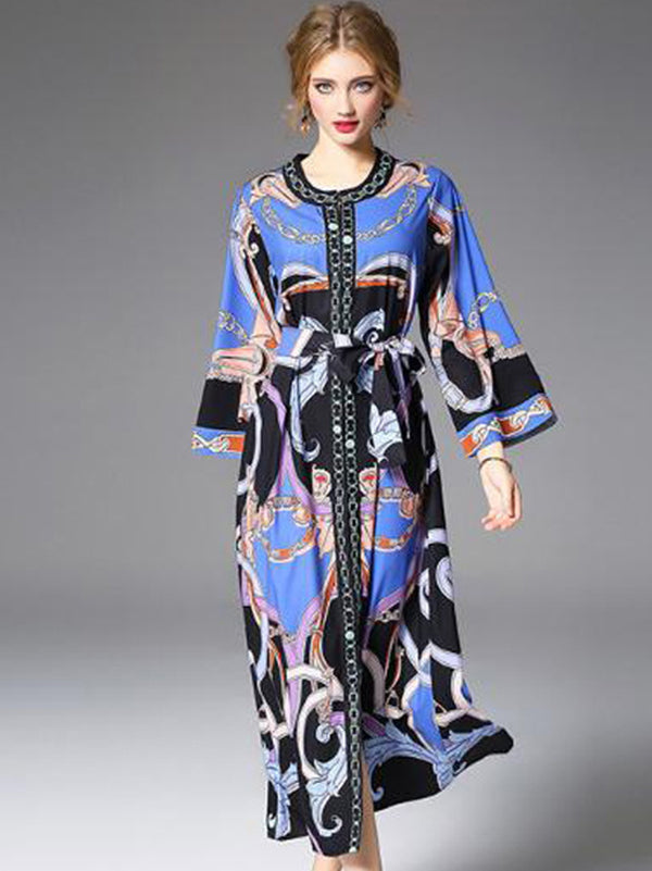 Multicolor O-Neck Long Sleeve Print Maxi Dress