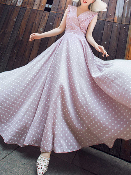 Polka Dot V-Neck Sleeveless Sweet Maxi Dress