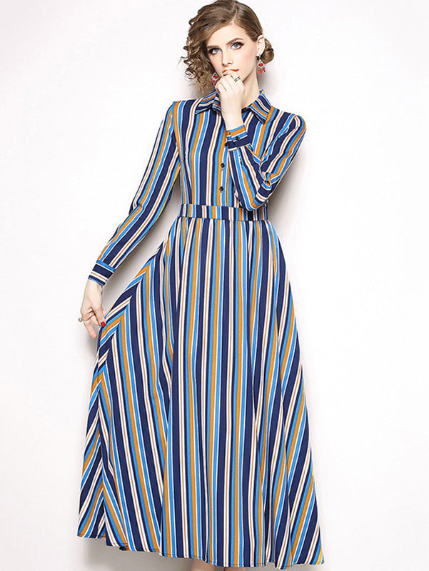 Multicolor Stripe Turn-Down Collar Big Hem Maxi Dress