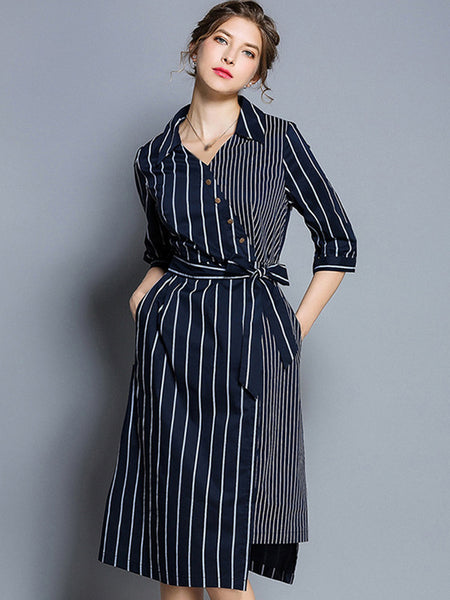 Stitching Turn-Down Collar Half Sleeve Lacing Stripe Fit & Flare Dress