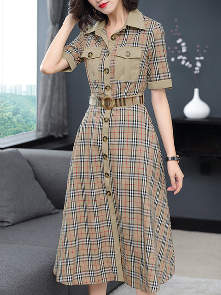 Plaid Turn-Down Collar Short Sleeve Belted Skater Dress