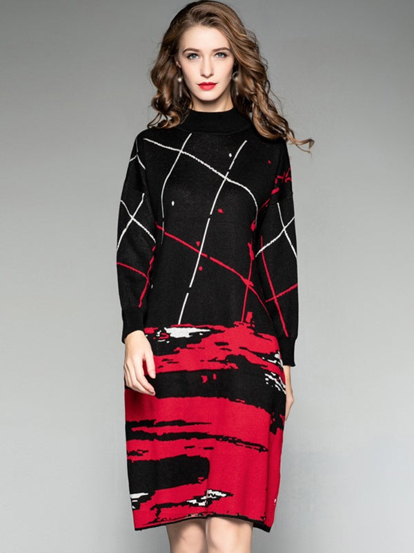 Casual O-Neck Long Sleeve Print Sweater Dress