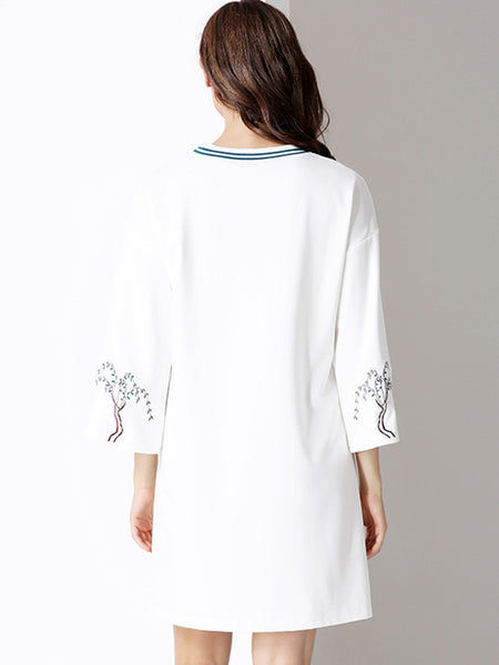 Folk O-Neck Long Sleeve Print Shift Dress