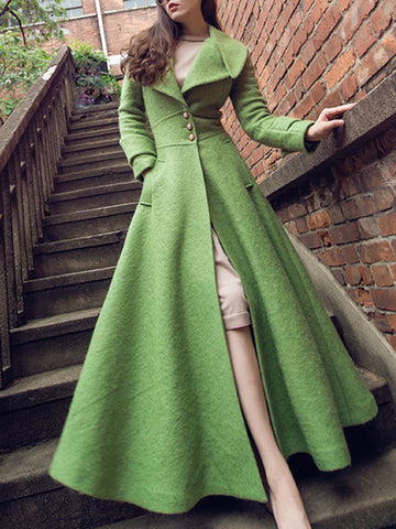 Green Lapel Collar Long Sleeve Pocket Coat Dress