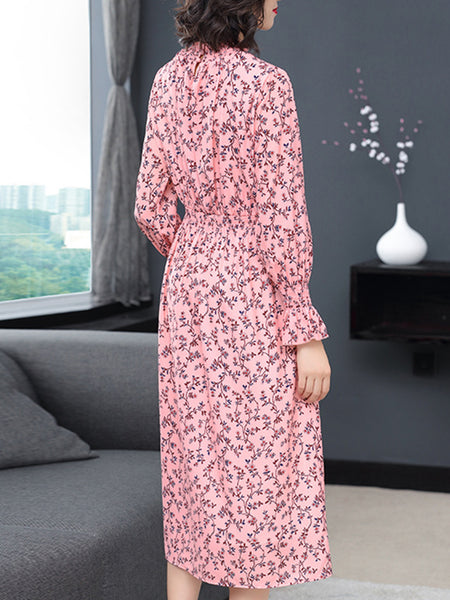 Elastic Waist Stand Collar Long Sleeve Floral Dress