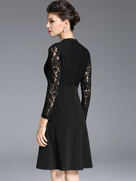 Lace O-Neck Long Sleeve Pure Color A-Line Dress