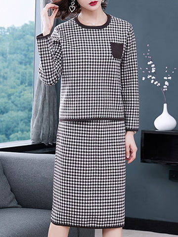 Plaid O-Neck Long Sleeve Two Piece Shift Dress