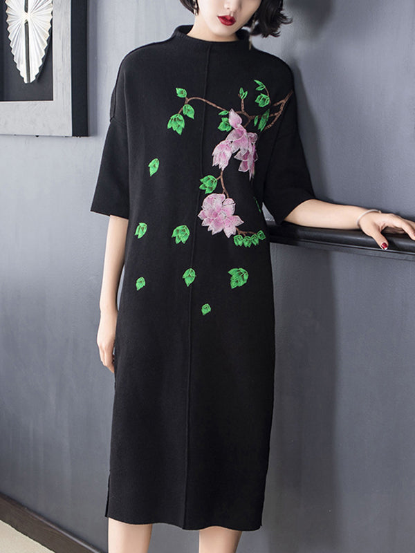 Folk Stand Collar Half Sleeve Pure Color Shift Dress