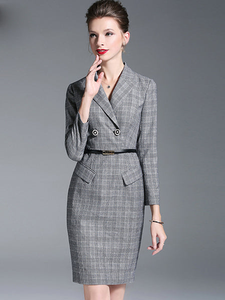 Fashion Lapel Collar Long Sleeve Bodycon Dress
