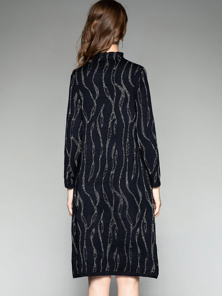 Vintage Stand Collar Long Sleeve Sweater Dress