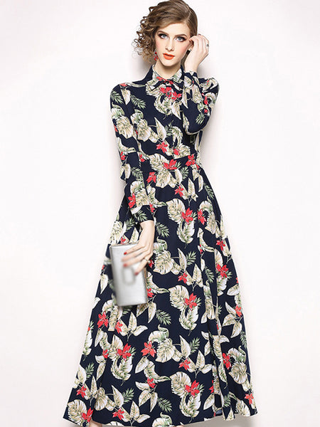 Turn-Down Collar Long Sleeve Big Hem Print Maxi Dress