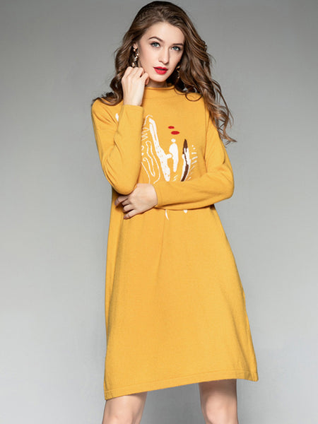 Simple O-Neck Long Sleeve Sweater Dress