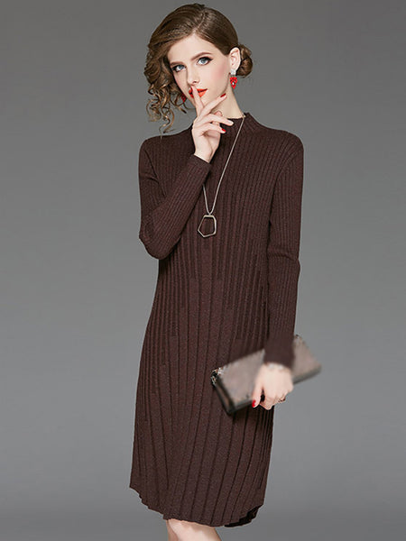 Elastic Stand Collar Long Sleeve Sweater Dress