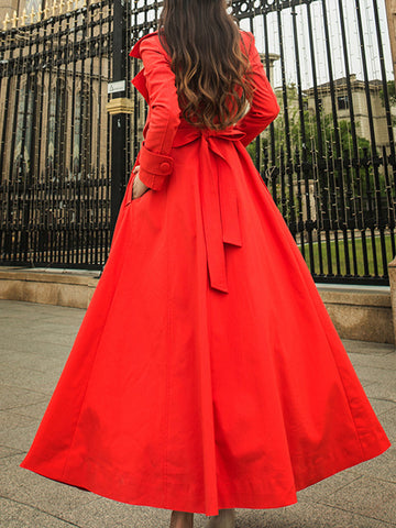 Belted Lapel Collar Long Sleeve Pure Color Coat Dress