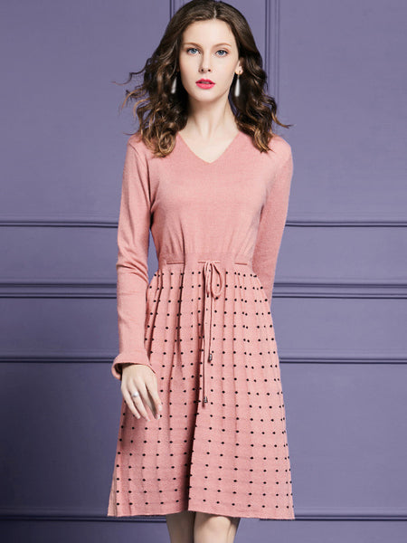 Sweet V-Neck Long Sleeve Lacing Fit & Flare Dress