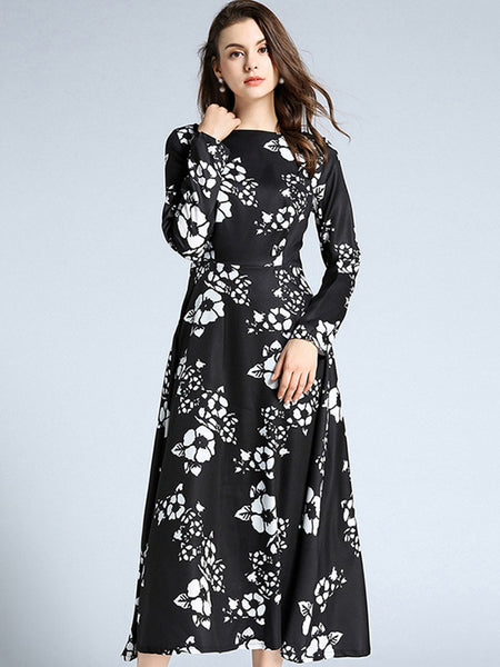 Simple O-Neck Long Sleeve Print Fit & Flare Dress