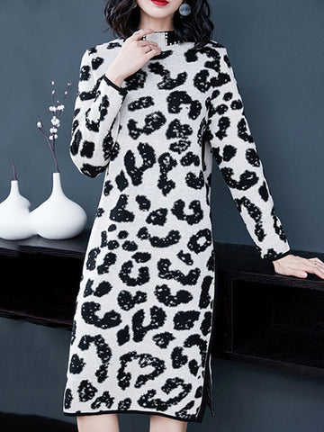 Beaded Stand Collar Long Sleeve Slit Sweater Dress