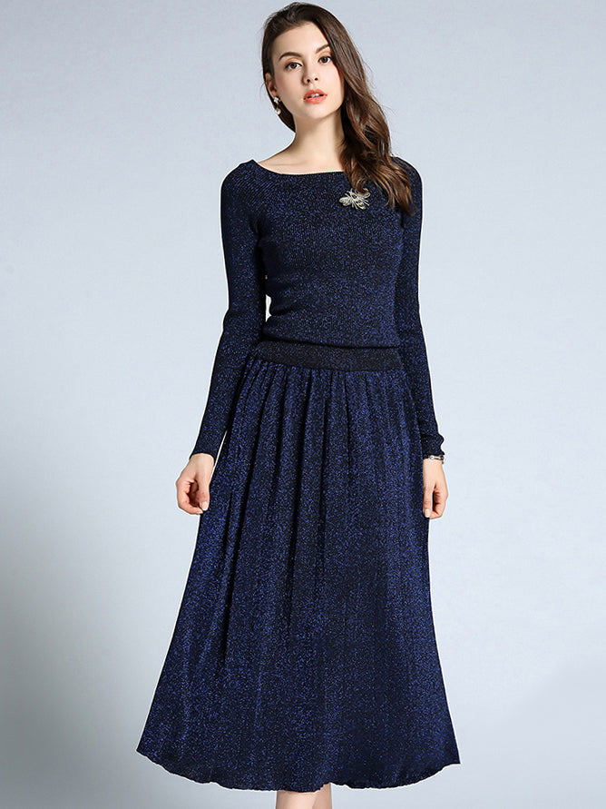 Elastic O-Neck Long Sleeve Pleated Maxi Dress