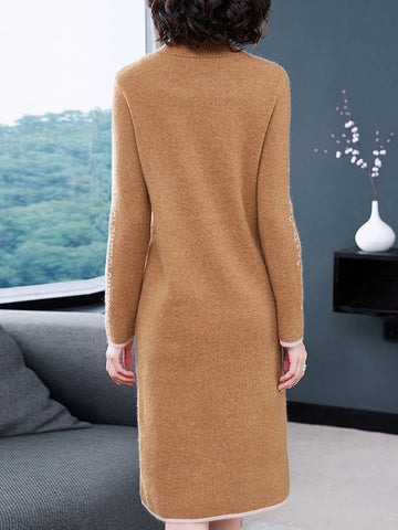 Stand Collar Long Sleeve Elastic Print Sweater Dress