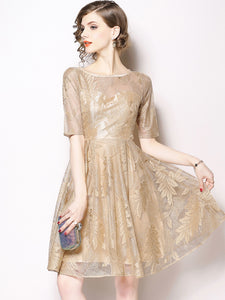 Gold O-Neck Half Sleeve Lace Fit & Flare Dress