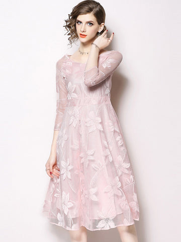 Sweet V-Neck 3/4 Sleeve Lace A-Line Dress