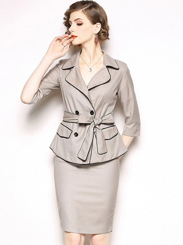 Two Piece Lapel Collar 3/4 Sleeve Lacing Bowknot Bodycon Dress