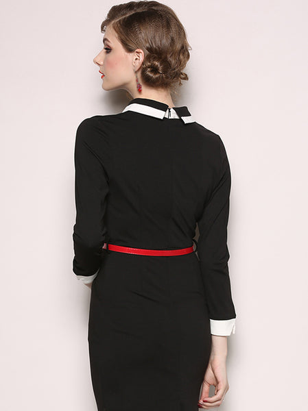 Pocket Turn-Down Collar Long Sleeve Bodycon Dress