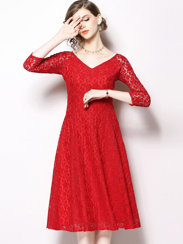 Sexy Red V-Neck 3/4 Sleeve Lace Skater Dress