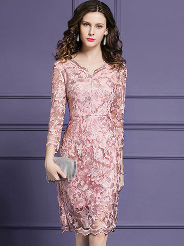 Elegant V-Neck 3/4 Sleeve Lace Fit & Flare Dress