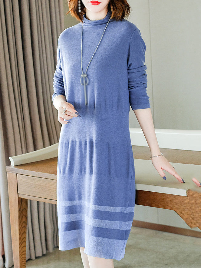 Elegant Stand Collar Long Sleeve Pure Color Sweater Dress