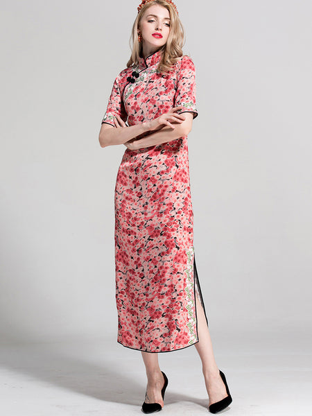 Folk Stand Collar Short Sleeve Slit Cheongsam Bodycon Dress