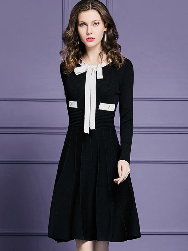 Lacing Bowknot Long Sleeve Pure Color A-Line Dress
